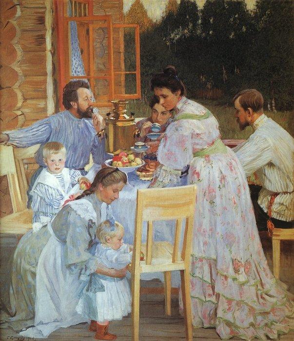 Б. Кустодиев.На террасе. 1906